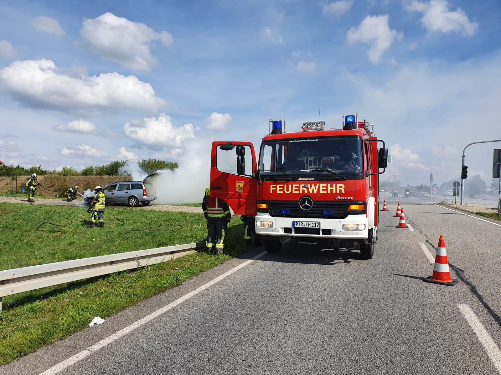 Brand PKW Auffahrt A17